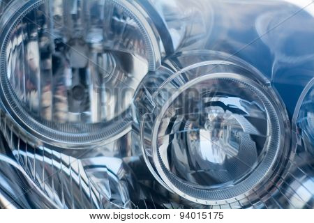 Silver Blue Technology, Abstract Background From A Blurred Close-up Of A Car Headlight