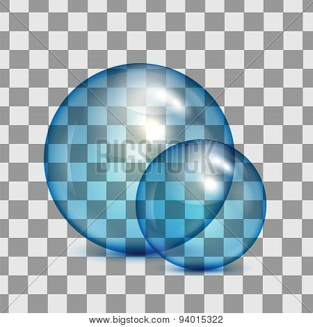Set Of  Transparent Glass Spheres On A Plaid Background