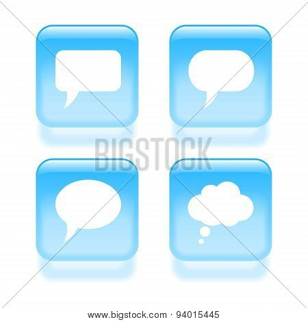 Glassy Speech Bubble Icons. Vector Illustration