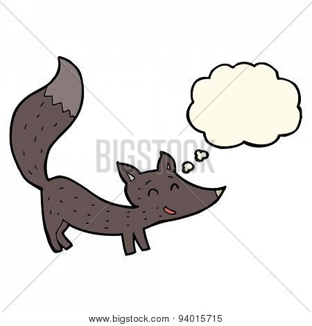 cartoon little wolf cub with thought bubble