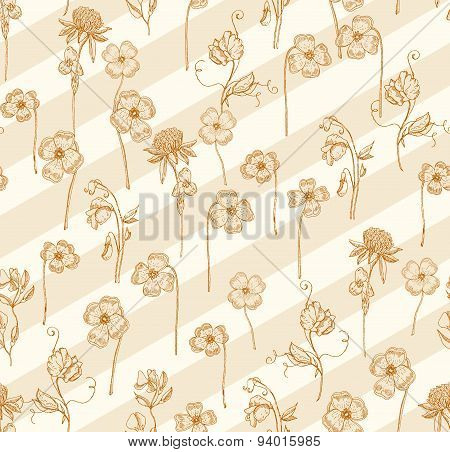 Clover line and diagonal art seamless pattern background