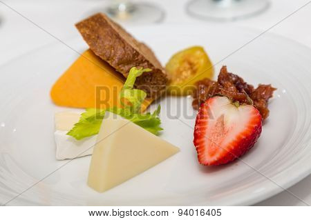 Cheese And Fruit Plate With Strawberry