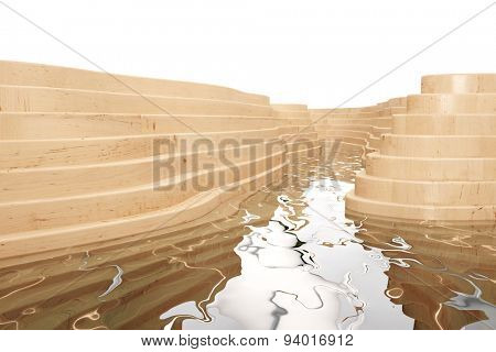 Water from a river flowing between wood layers (3D Rendering)