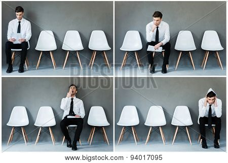 Waiting For His Interview.