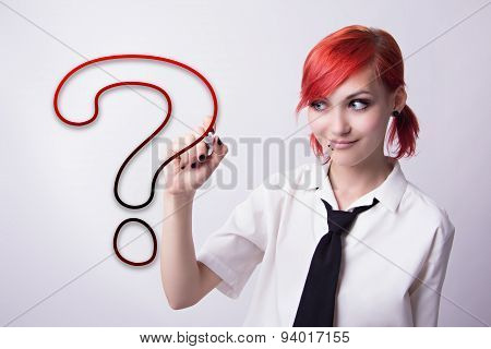 Beautiful Girl Draws A Question Mark Marker
