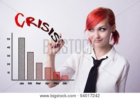 Red-haired Girl Draws A Graph Of The Marker