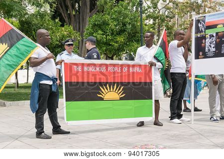 Athens, Greece - May 30, 2015. The 30th may rally day in remembrance of Biafrans fallen heroes.