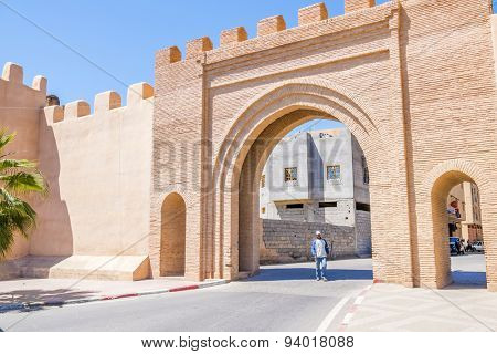 TAROUDANT, MOROCCO, APRIL 9, 2015: Bab Leblaliaa (gate in ancient walls)