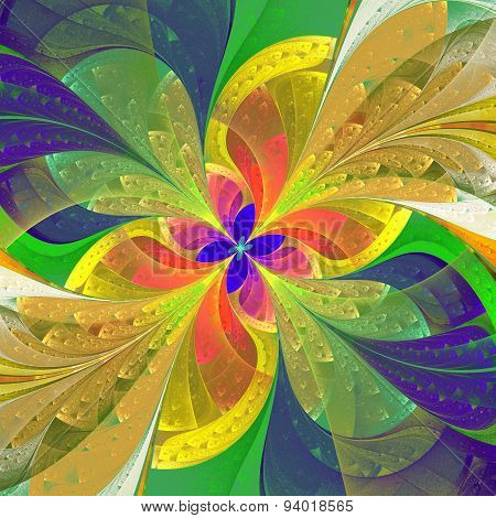 Multicolored Diagonal Fractal Flower In Stained-glass Window Style. Computer Generated Graphics.