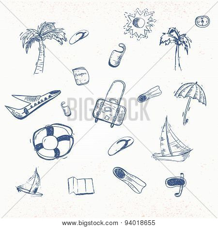 Vector summer travel doodle with boat, plain, umbrella. EPS10