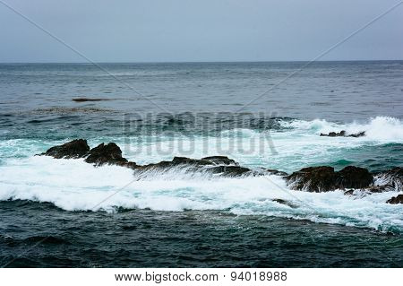 Waves And Rocks In The Pacific Ocean, At Point Lobos State Natural Reserve, California.