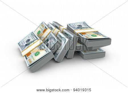 Creative Abstract Business, Financial Success And Making Money Concept: Stacks Of New Dollar Banknot