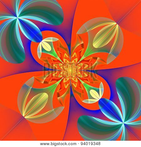 Diagonal Symmetrical Pattern Of The Flower Petals. Blue And Orange Palette. Computer Generated Graph