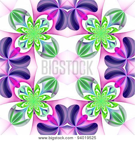 Symmetrical Pattern Of The Flower Petals. Green And Violet Palette. Computer  Graphics.