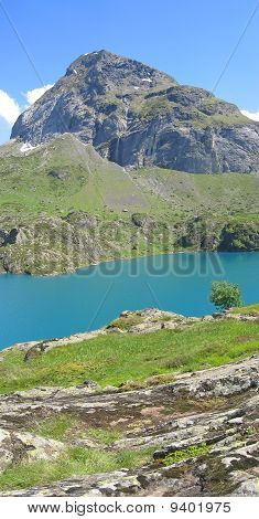 Vertical Scenic View Of The Gloriettes Lake And Estaube Circus Mountains, The Pyrenees, France, Pano