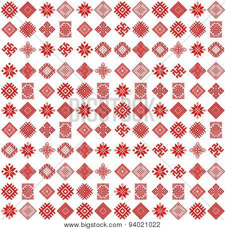 Vector tribal art ethnic seamless pattern with slavic icons.