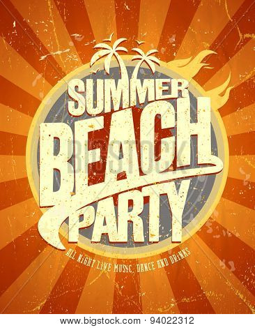 Summer beach party hot retro style poster. Eps10