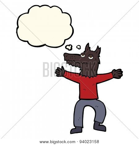 cartoon wolf man with thought bubble