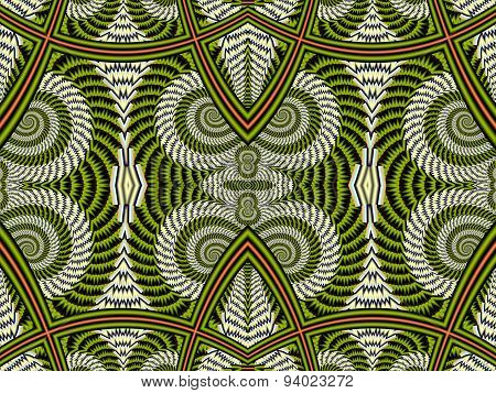 Symmetrical Pattern From Spiral Fractal. Gray And Brown Palette. Computer Graphics.