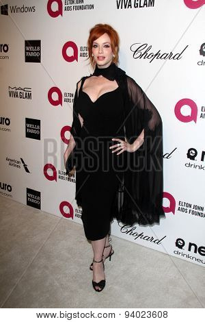 LOS ANGELES - MAR 3:  Christina Hendricks at the Elton John AIDS Foundation's Oscar Viewing Party at the West Hollywood Park on March 3, 2014 in West Hollywood, CA