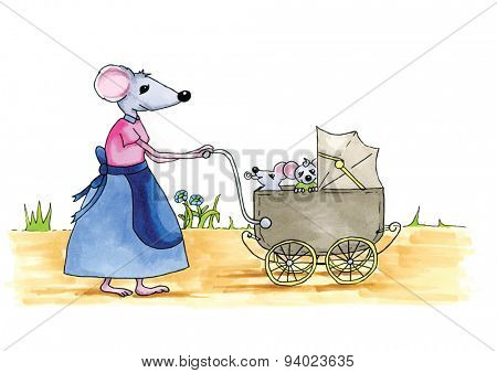 From the series mouse - mouse has eaten cheese with cow in background