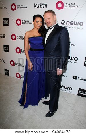 LOS ANGELES - MAR 3:  Allegra Riggio, Jared Harris at the Elton John AIDS Foundation's Oscar Viewing Party at the West Hollywood Park on March 3, 2014 in West Hollywood, CA