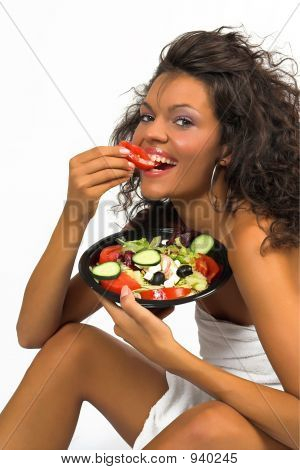 Beautiful Brunette Girl Eating Fresh Salad