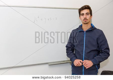 student at the school, on the whiteboard