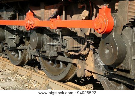 Railway engine train wheels