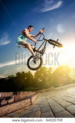 bmx bike rider on the highlights