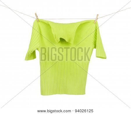 Jacket On A Clothesline Isolated On White