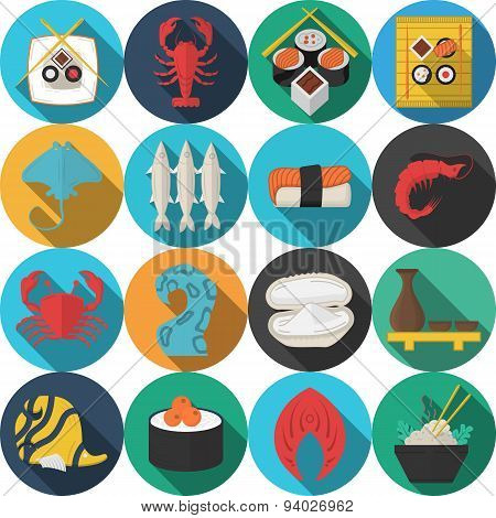 Flat round vector icons for seafood