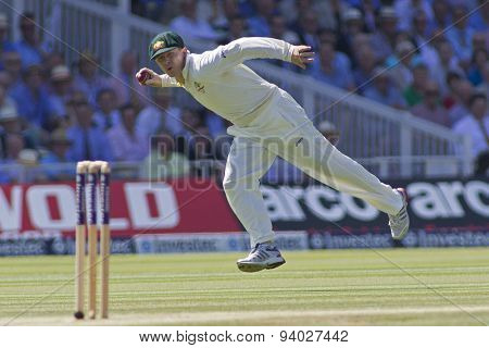 LONDON, ENGLAND - July 19 2013: Chris Rogers fielding during day two of the Investec Ashes 2nd test match, at Lords Cricket Ground on July 19, 2013 in London, England.