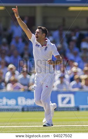 LONDON, ENGLAND - July 19 2013: James Anderson makes an unsuccessful appeal for a wicket during day two of the Investec Ashes 2nd test match, at Lords Cricket Ground on July 19, 2013