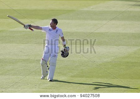 LONDON, ENGLAND - July 18 2013: Ian Bell celebrates a century on day one of the Investec Ashes 2nd test match, at Lords Cricket Ground on July 18, 2013 in London, England.
