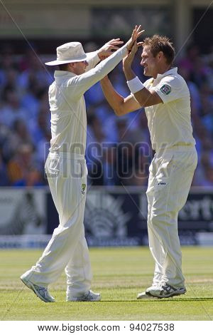 LONDON, ENGLAND - July 19 2013: Michael Clarke and Ryan Harris celebrates the wicket of James Anderson during day two of the Investec Ashes 2nd test match, at Lords Cricket Ground on July 19, 2013