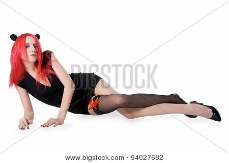 young sexy red hair woman in stockings