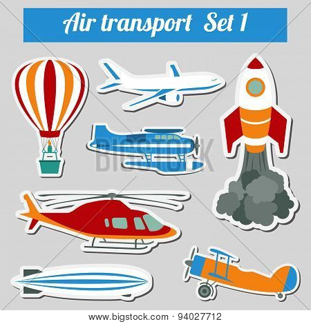 Public transportation, air transportation. Icon set