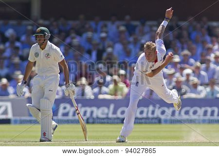 LONDON, ENGLAND - July 19 2013: Usman Khawaja and Stuart Broad during day two of the Investec Ashes 2nd test match, at Lords Cricket Ground on July 19, 2013 in London, England.