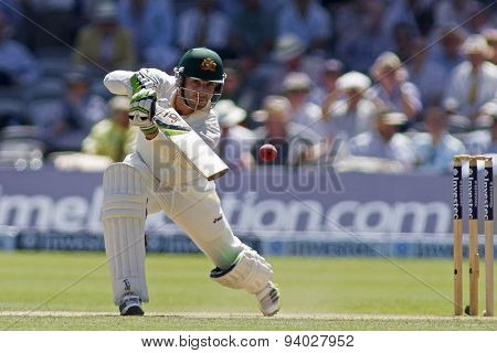 LONDON, ENGLAND - July 19 2013: Phillip Hughes batting during day two of the Investec Ashes 2nd test match, at Lords Cricket Ground on July 19, 2013 in London, England.