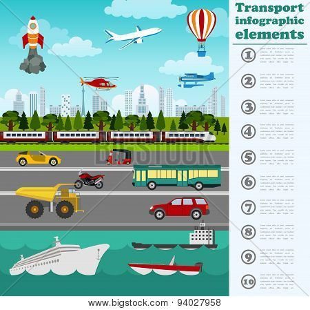 Transport infographics elements. Cars, trucks, public, air, water, railway transportation