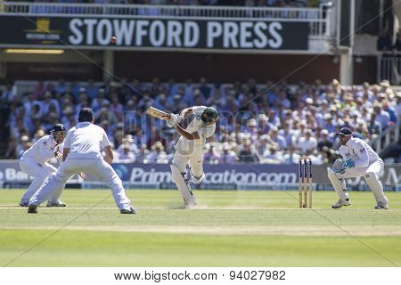 LONDON, ENGLAND - July 19 2013: Ian Bell, Alastair Cook, Usman Khawaja, and Matt Prior during day two of the Investec Ashes 2nd test match, at Lords Cricket Ground on July 19, 2013