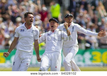 NOTTINGHAM, ENGLAND - July 14, 2013: James Anderson celebrates taking the winning wicket during day five of the first Investec Ashes Test match at Trent Bridge Cricket Ground on July 14, 2013