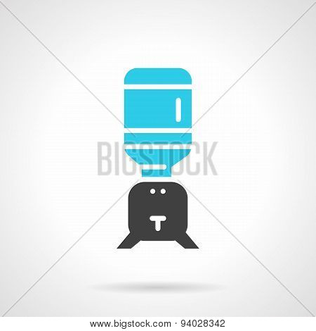 Water cooler jug black and blue vector icon