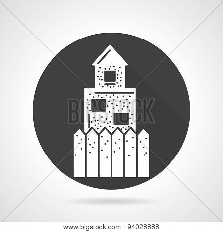 Defence wall black round vector icon