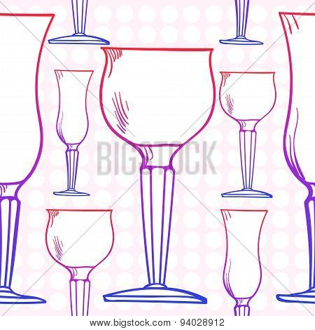 Stemware Pattern. Glass In Vector, Seamless