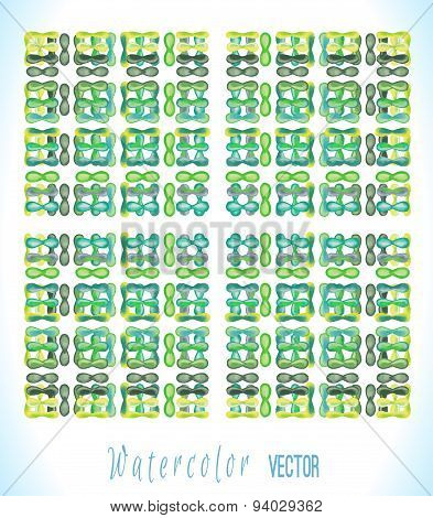 Vector watercolor square with colorful drops.