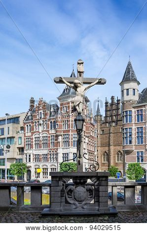 Antwerp, Belgium - May 10, 2015:Crucifix Located In The Het Steen Castle In Antwerp