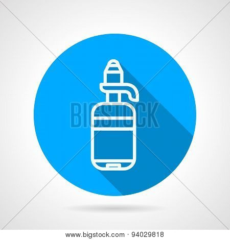 Line water bottle round vector icon