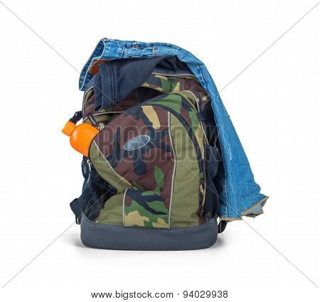 Isolated Army Camouflage Backpack And Clothes On White Background